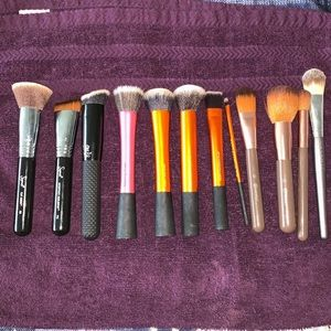 Used makeup brushes